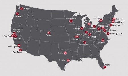 Washington University School of Medicine graduates go on to the top training programs  in the nation. The map shows some of the most common destinations —and the number of graduates who went on to train there — for 2000–14.