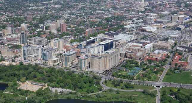 Aerial view of medical campus showing Forest Park in foreground